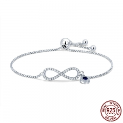 Trendy 925 Sterling Silver Luminous CZ Infinity Love Bracelets for Women Fashion Bracelet Jewelry Making Gift SCB087