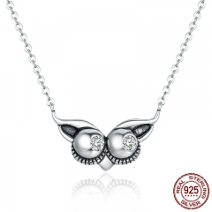 Authentic 925 Sterling Silver Lovely Animal Owl Face Women Necklaces & Pendants Luxury Sterling Silver Jewelry SCN153