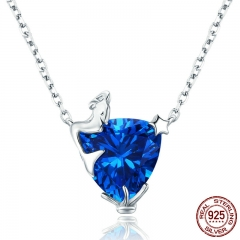 Romantic 100% 925 Sterling Silver Fairy Legend Blue Crystal Pendant Necklaces for Women Authentic Silver Jewelry SCN243