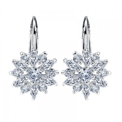 Real Silver Color Stud Earrings Collection with Flower Shape Multicolor/Silver AAA Zircon For Women Jewelry JIE041