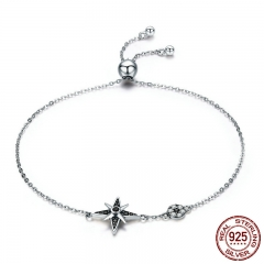 100% Authentic 925 Sterling Silver Star Light Sparkling CZ Chain Link Women Bracelet Sterling Silver Jewelry Gift SCB060