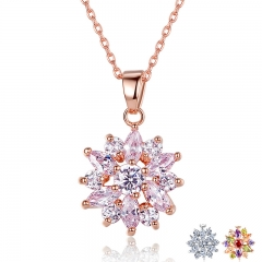 Hot Sell Gold Color Flower Necklaces Pendants with High Quality Cubic Zircon For Women Birthday Gift JIN024