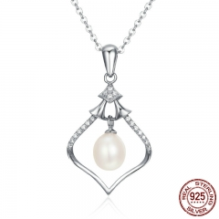 Real 925 Sterling Silver Elegant Magic Rhythm Box Fresh Water Pearl Pendant Necklaces for Women Fine Jewelry SCN115