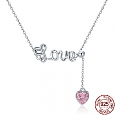 Romantic 925 Sterling Silver Sweet Love Heart Pendant Necklaces for Valentine Gift Pink CZ Sterling Silver Jewelry SCN288