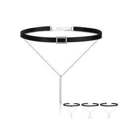 Trendy Double Layer 925 Sterling Silver & Black Braid Bar Square Chokers Pendant Necklaces Femme Collar Jewelry SCN080 NECK-0054