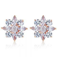 Gold Color Stud Earrings with Flower Shape with AAA Zircon For Women Classic Jewelry JIE046