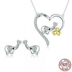 High Quality 100% 925 Sterling Silver Elephant Cute Animal Earrings Necklace Jewelry Set Sterling Silver Jewelry SCE379