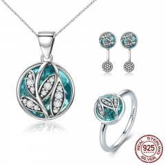 Authentic 925 Sterling Silver Jewelry Set Green Crystal CZ Tree of Life Bridal Jewelry Set Sterling Silver Christmas Gift
