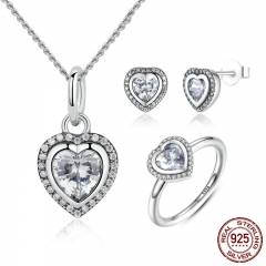 925 Sterling Silver Jewelry Set Sparkling Love Heart Jewelry Sets Wedding Engagement Jewelry Mother's Day Gift ZHS009