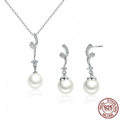Popular Elegant 925 Sterling Silver White Pearl Jewelry Set for Women Pendant Necklace & Earrings SCN048+SCE035