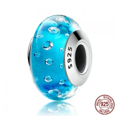 925 Sterling Silver Blue Effervescence, Clear CZ Murano Glass Beads fit Bracelet Authentic Silver Jewelry S925 SCZ029