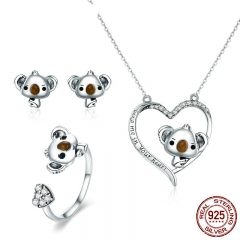 100% Real 925 Sterling Silver Cute Bear Koala Animal Collection Girls Jewelry Set Sterling Silver Jewelry Gift ZHS062