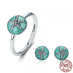 Authentic 925 Sterling Silver Dazzling Starfish Finger Ring & Earrings Jewelry Sets Luxury Sterling Silver Jewelry Gift