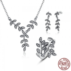 925 Sterling Silver Sparkling Leaves Leaf Long Pendant Necklace Silver Bridal Jewelry Sets Sterling Silver Jewelry ZHS010