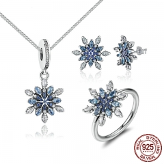 925 Sterling Silver Crystalize Snowflake Blue Crystals Clear CZ Bridal Jewelry Sets Sterling Silver Christmas Gift ZHS006