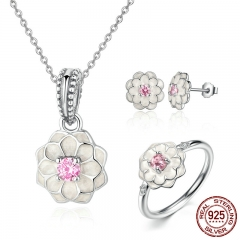 Genuine 100% 925 Sterling Silver Jewelry Set White Flower Pink Clear CZ Jewelry Sets Wedding Engagement Jewelry ZHS036