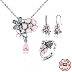 100% 925 Sterling Silver Pink Flower Poetic Daisy Cherry Blossom Bridal Jewelry Sets Wedding Engagement Jewelry ZHS028