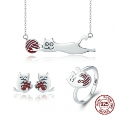 100% 925 Sterling Silver Set Naughty Little Cat Necklace Earrings Ring Jewelry Sets Sterling Silver Jewelry Gift ZHS046