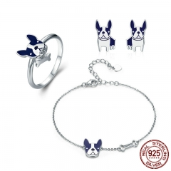 100% Genuine 925 Sterling Silver French Bulldog Doggy Ring & Bracelet & Earrings Jewelry Set Silver Jewelry Gift ZHS054