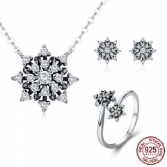 100% 925 Sterling Silver Luminous CZ Sparkling Snowflake Geometric Women Jewelry Set Sterling Silver Jewelry Gift ZHS057