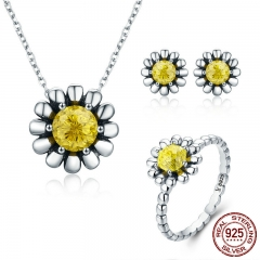 Authentic 100% 925 Sterling Silver Daisy Flower Yellow CZ Earrings Necklace Jewelry Set Sterling Silver Jewelry ZHS048