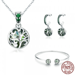 Authentic 925 Sterling Silver Sets Tree of Life Green Crystal AAA CZ Jewelry Set Sterling Silver Jewelry Gift ZHS053