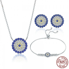 Authentic 925 Sterling Silver Round Blue Eyes Clear CZ Tennis Bracelets Necklaces Earrings Women Bridal Jewelry Sets