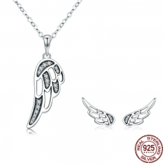 Authentic 100% 925 Sterling Silver Fairy Wings Feather Women Necklace Earrings Jewelry Set Authentic Silver Jewelry Gift