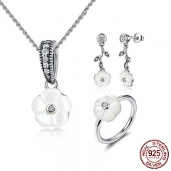 Genuine 925 Sterling Silver White Flower Luminous Florals, Mother-Of-Pearl Jewelry Sets Sterling Silver Jewelry ZHS013