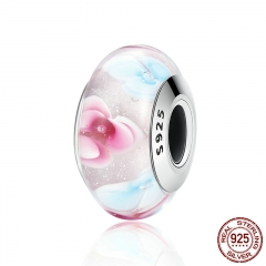 925 Sterling Silver Colourful Flower Pattern European Murano Glass Charm Beads fit Bracelets & Bangles Jewelry SCZ056