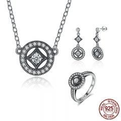 Genuine 925 Sterling Silver Jewelry Set Classic Vintage Allure CZ Bridal Jewelry Sets Sterling Silver Jewelry ZHS032