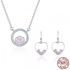Authentic 925 Sterling Silver Jewelry Set Romantic Rose Flower Heart Earrings Jewelry Sets Sterling Silver Jewelry Gift