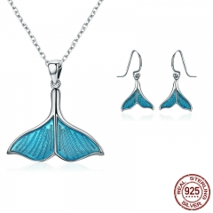 925 Sterling Silver Jewelry Set Ocean Sea Whale's Tail Mermaid Bridal Jewelry Sets for Women Sterling Silver Jewelry Gift