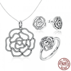 100% 925 Sterling Silver Shimmering Rose Pendant Necklace Jewelry Sets Sterling Silver Jewelry ZHS027
