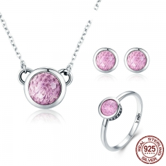 Authentic 100% 925 Sterling Silver Pink CZ Round Shape Party Ring Necklace Jewelry Set Sterling Silver Jewelry ZHS049