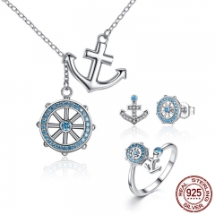 Authentic 925 Sterling Silver Blue Anchor & Rudder Pendants & Necklaces Jewelry Sets Sterling Silver Jewelry ZHS035