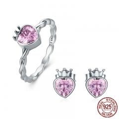 Authentic 925 Sterling Silver Jewelry Set Crown of Heart Sparkling Pink CZ Jewelry Sets Sterling Silver Jewelry Gift