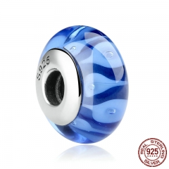 "Classic 925 Sterling Silver Blue European Murano Glass Beads Charms Fit Bracelets & Bangles for Women with ""S925"" SCZ007"