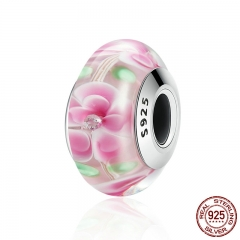 High Quality Authentic 925 Sterling Silver Romantic Pink Flower Murano Glass Beads fit Charm Bracelet Jewelry SCZ057