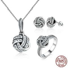 Authentic 100% 925 Sterling Silver Sparkling Love Knot Weave Jewelry Sets Sterling Silver Jewelry Accessories ZHS001