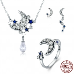 Genuine 925 Sterling Silver Jewelry Set Moon & Star Dazzling CZ Bridal Jewelry Sets Sterling Silver Jewelry ZHS040