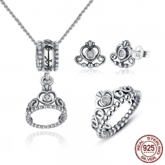 925 Sterling Silver Jewelry Set My Princess Queen Crown & CZ Jewelry Sets Wedding Engagement Jewelry Accessories ZHS008