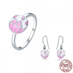 Authentic 925 Sterling Silver Pink Enamel Cherry Flower Rings & Earrings Jewelry Sets Luxury Sterling Silver Jewelry Gift