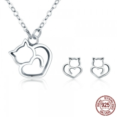 100% 925 Sterling Silver Lovely Pussy Cat Women Jewelry Set Necklace Earrings Jewelry Sets Sterling Silver Jewelry Gift