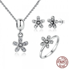 Genuine 925 Sterling Silver Jewelry Set Dazzling Daisy & Clear CZ Bridal Jewelry Sets Sterling Silver Jewelry ZHS015