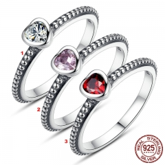 3 Colors Authentic 100% 925 Sterling Silver Ring Love Heart Ring Original Wedding Jewelry Gift For Mother PA7107