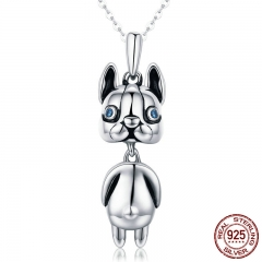 High Quality Authentic 925 Sterling Silver French Bulldog Doggy Dog Animal Pendant Necklaces Women Silver Jewelry SCN233