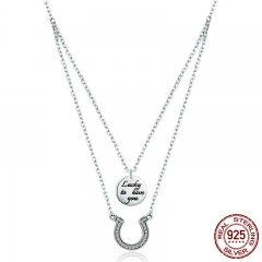 Genuine 100% 925 Sterling Silver Double Layers Horseshoe Coin Pendant Necklaces Women Sterling Silver Jewelry Gift SCN235