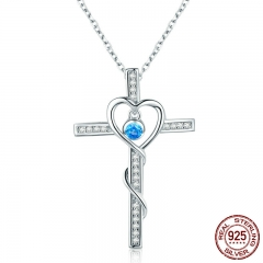 Classic 100% 925 Sterling Silver Love Heart with Cross Pendant Necklaces for Women Sterling Silver Jewelry Gift SCN240
