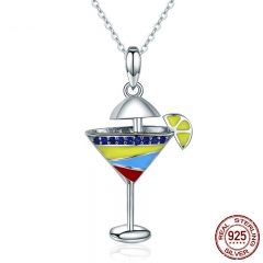 Summer Collection Authentic 925 Sterling Silver Summer Cool Drink Cup Pendant Necklaces for Women Silver Jewelry SCN250